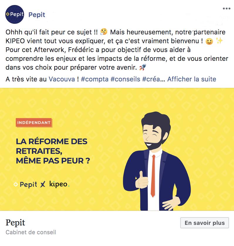 Post Facebook de Pepit, cabinet Tiime Partner